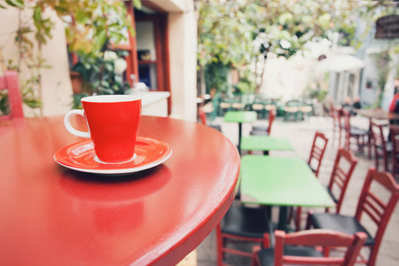 A cup of coffee on table, mediterranean style