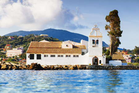 View of Vlacherna monastery, Kanoni, Corfu island, Greece
