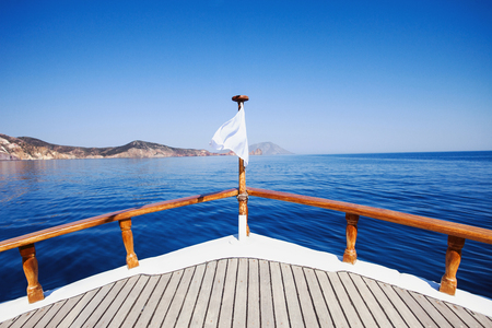 View on a sea from the sailing ship in a beautiful bay, travel and vacations concept