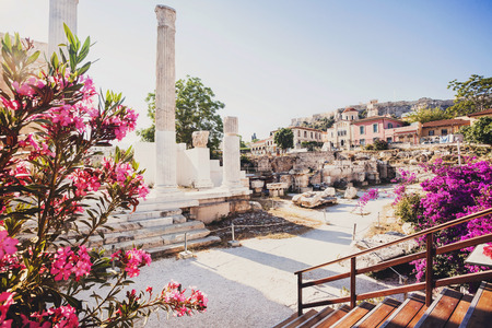 Ancient Greece, detail of ancient street, Plaka district, Athens, Greece Standard-Bild