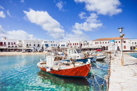 Fishing boats in Mykonos town, famous touristic destination, Greece Stock Photo