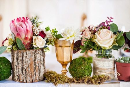 Wedding decorations with flowers Stok Fotoğraf - 87388874