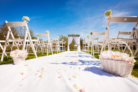 View of wedding setting with empty seats Stock Photo