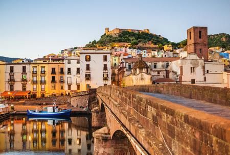 Beautiful view of Bosa town, Sardinia island, Italy. Travel destination