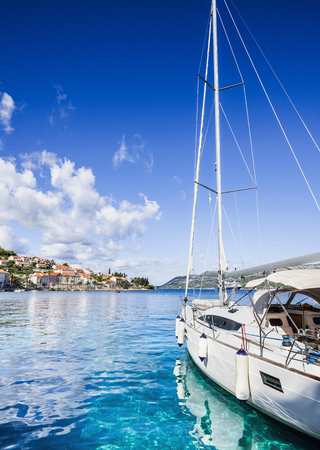 Sailing boat in a beautiful bay, Dalmatia, Croatia Stock Photo