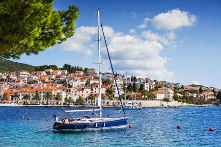 Sailing boat in a beautiful bay of the Hvar island, Dalmatia, Croatia