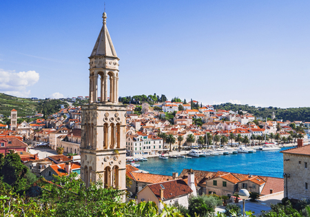 View of the Hvar town, Hvar island, Dalmatia, Croatia Stock Photo