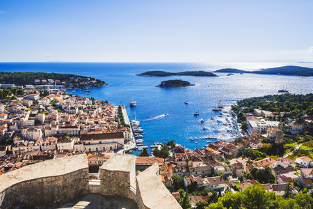 Aerial view of the Hvar town, Hvar island, Dalmatia, Croatia Stock Photo - 118934350