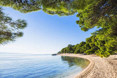 Beautiful beach near Brela town, Dalmatia, Croatia. Makarska riviera, famous landmark and travel touristic destination in Europe Stock fotó