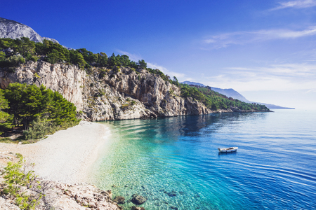Beautiful Nugal beach near Makarska town, Dalmatia, Croatia. Makarska riviera, famous landmark and travel touristic destination in Europe