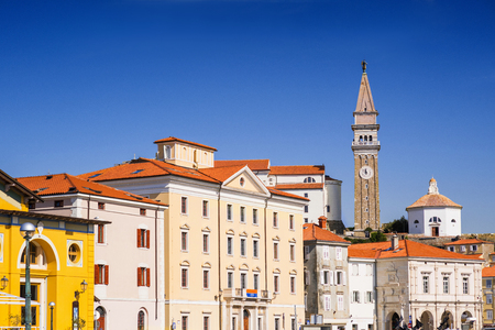 View of Piran town, Slovenia. Famous Slovenian tourist destination