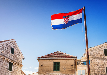 Croatian town and flag of Croatia. Travel tourism concept Stock fotó