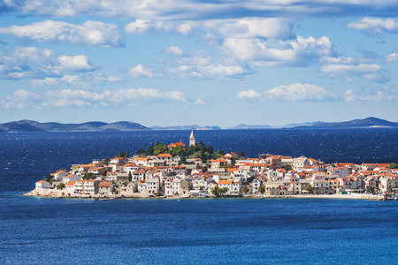 View of Primosten, Croatia. Dalmatian coast. Panoramic view, famous Croatian tourist destination.