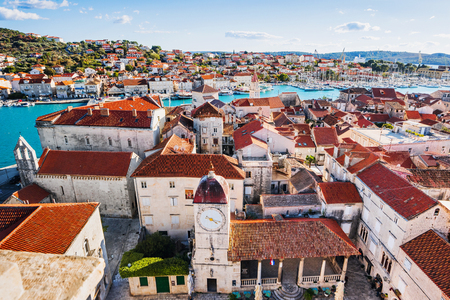 Trogir town, Croatia. Panoramic view, famous Croatian tourist destination. Dalmatian coast