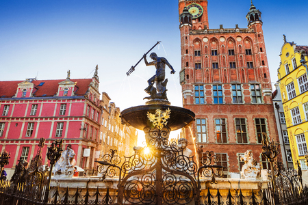 Poland, Gdansk, Famous Neptune fountain at sunset . Famous travel destination in Europe Stock fotó