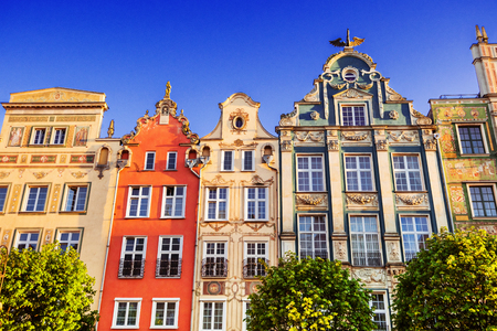 Colorful facades on the central market square in Gdansk, Poland