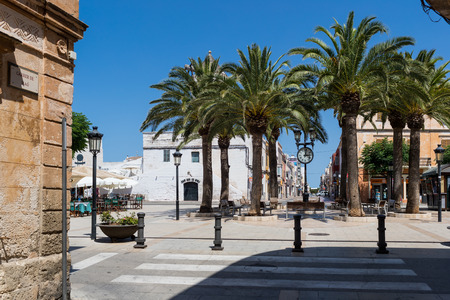 peacefulness: Palm trees in a mediterranean village Stock Photo