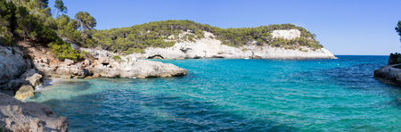 baleares: Panoramic view of a bay with crystal blue water with cliffs