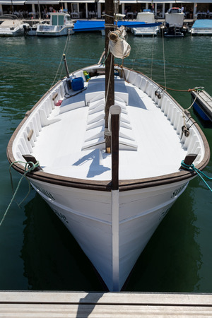baleares: Minorcan white wooden boat