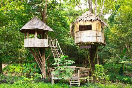 Cute wooden tree house for kids in tropical forest Stock Photo