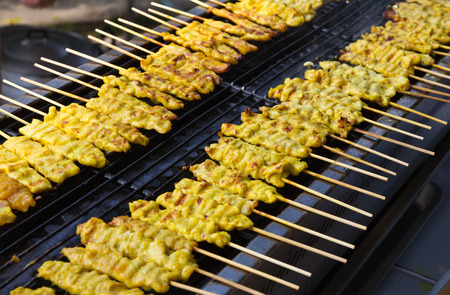 Satay pork   Grilled pork with yellow curry powder