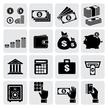 Finance and money icons set Vector