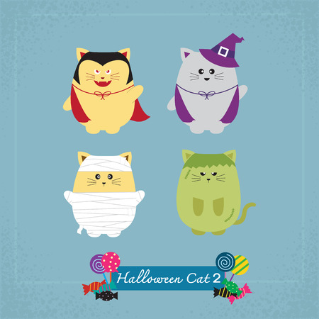 Set of cute cat in Halloween costumes 向量圖像
