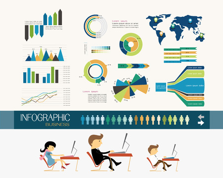 Business office and infographics