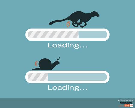 caracol: Rápido y lento barra de progreso de carga Vectores
