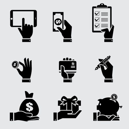 internet icon: Business hand with object icons set, Vector illustration