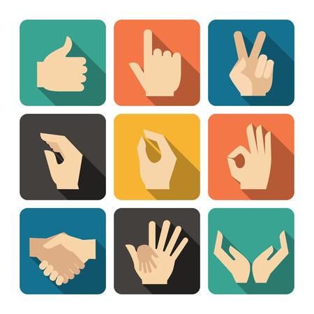 ok: Hands Icons Set, Flat Design Vector illustration