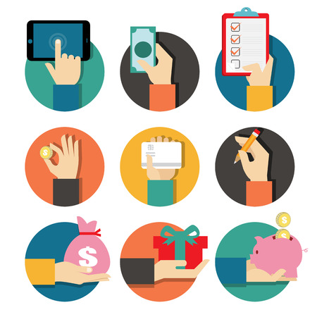shopping order: Hands with object icons set, Flat Design Vector illustration Illustration