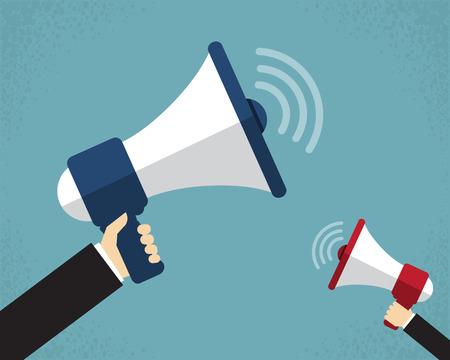 megafono: Mano que sostiene un megáfono