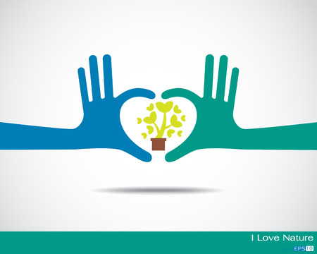 Tree inside heart made up of human hands Hands