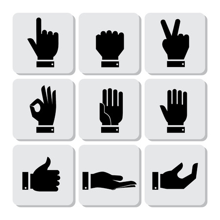 sign ok: Hands Icons Set, Flat Design Vector illustration