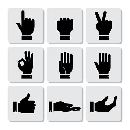 expresion corporal: Manos set de iconos, ilustración vectorial Piso Diseño Vectores