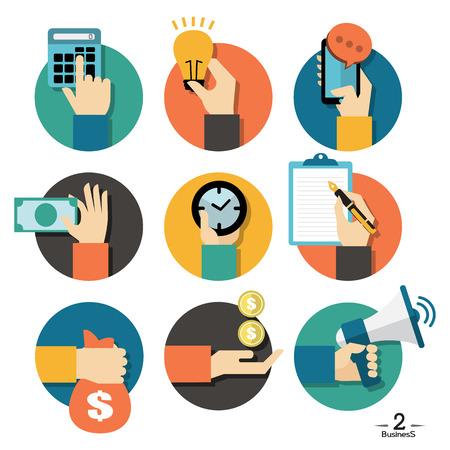efectivo: Las manos con los iconos de objetos de negocio conjunto, ilustraci�n vectorial Flat Dise�o