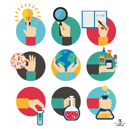 Hands with science experiment object icons set, Flat Design Vector illustration