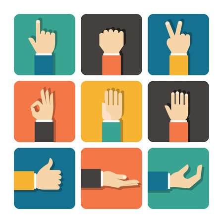 manos: Manos set de iconos, ilustración vectorial Flat Design Vectores