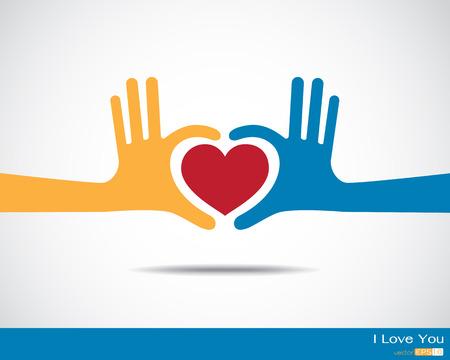 juntos: Mãos em forma de coração Ilustração