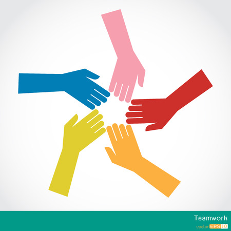 group  join: Teamwork, Colorful Hands