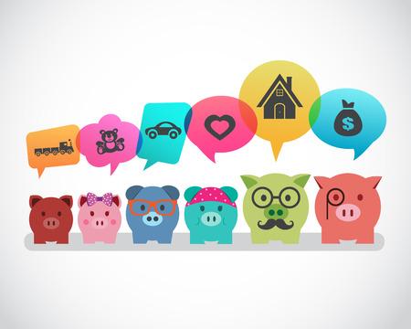Saving money for future concept of piggy banks