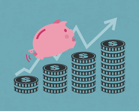 Saving money for future concept of piggy bank and coins