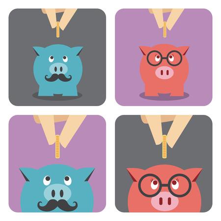 piggy bank: Hand putting a coin into piggy bank
