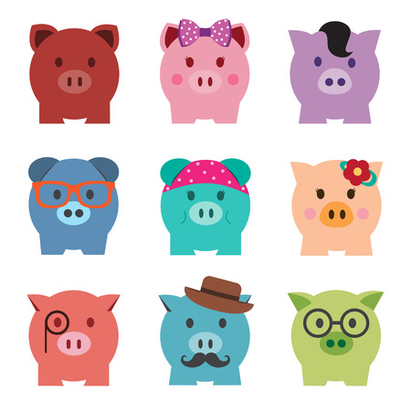 Colorful piggy bank icon set, front view