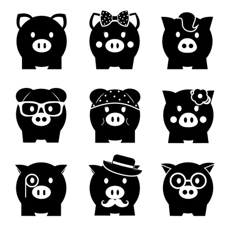 cartoon bank: Piggy bank icon set, front view