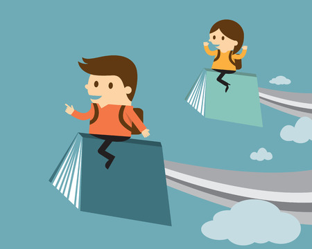 Boy and girl flying on book, Education concept