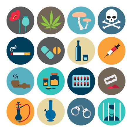drogadiccion: Estupefacientes icono Vectores