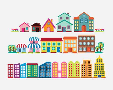 Colorful house and building collection set, flat design vector
