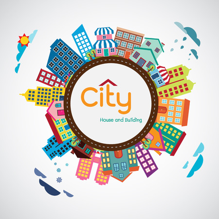 real world: City, House and building, Flat design vector Illustration